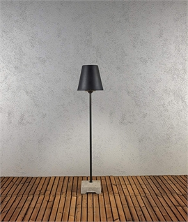 Black Exterior Floor Light With Concrete Base