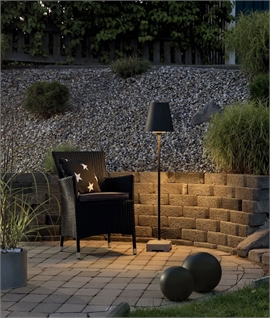 Floor Light for Outdoor Seating Area - Black with Concrete Base