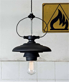 Industrial Styled Single Pendant with Canopy