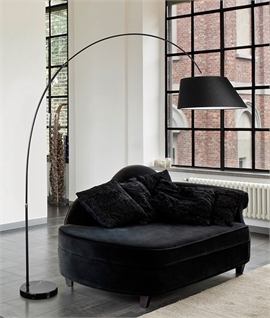Black Fabric Shade Long Reach Floor Lamp