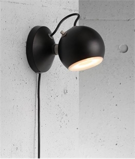 Ball Shaped Wall Light With Trailing Lead - 2 Colours