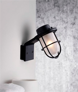 Black Marine Style IP44 Wall Light with Opal Glass