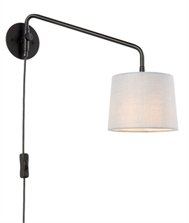 Swing Arm Black Wall Light - Light Grey Shade