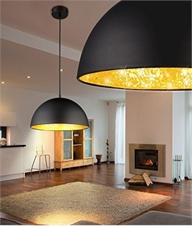 Metal Dome Pendants with Crackle Glass Interior
