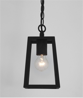 Square Exterior Chain Hanging Lantern - Clear Glass