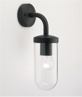 Exterior Glass Wall Lantern - Black or Polished Nickel