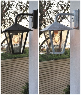 Hanging Exterior Wall Lantern with Scroll - 2 Finishes