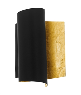 Wall Sconce in Rolled Scroll design - Black with Gold