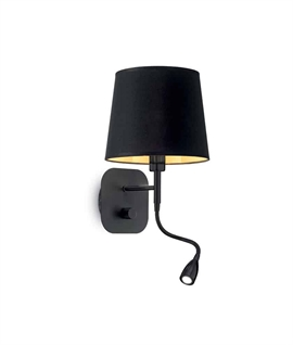 Black Shaded Wall Light with LED Adjustable Arm