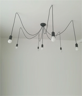 Modern Bare Bulb Multi Flex Chandelier - 7 Arm