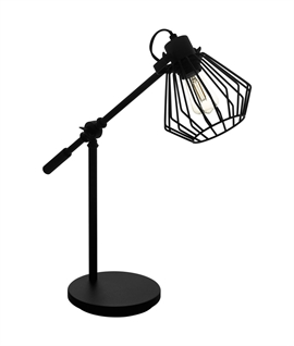 Caged Shade Adjustable Arm Black Table Lamp