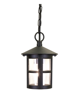 Black & Clear Glass Porch Chain Lantern