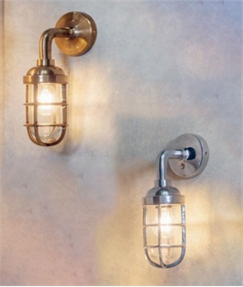 Caged Industrial Wall Light for Interior Use - Two Finishes