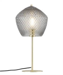Brass & Pentagon Glass Shade Table Lamp