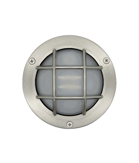 Brass Caged Bulkhead Light with Satin Nickel Finish