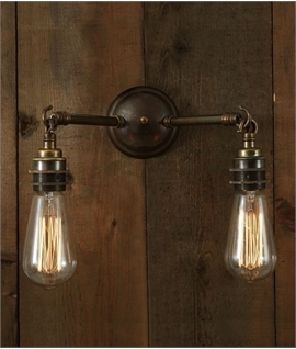 Bare Lamp Double Wall Light - 3 Finishes