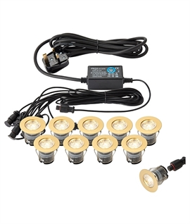 Brass IP67 Ten Light LED Kit - 2 Sizes