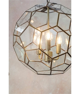 Multifaceted Hexagonal Glass Lantern in Antique Brass
