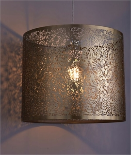 Antique Brass Shade with Garden Silhouettes