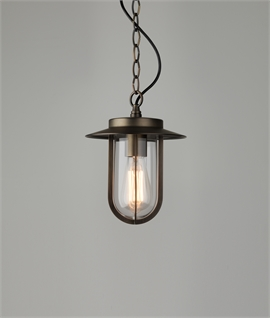 Modern Chain Suspended Porch Lantern with Clear Glass