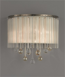 Crystal Droplet & Bronze Lurex Shaded Wall Light