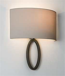 Modern wall light with fabric shades lighting styles ellipse bracket wall light shallow projection curved shade aloadofball Image collections