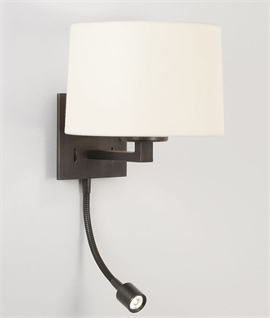 Small Bronze Bedside Wall Light with Reading Light