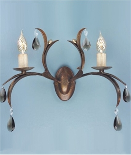 Bronze & Cut Glass Double Wall Light