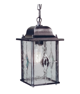 Exterior Chain Lantern with Leaded Glass