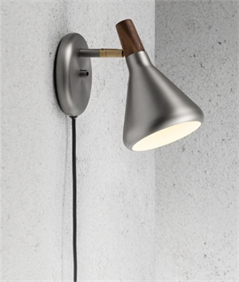Flared Metal Shade Wall Light - Oiled Walnut Detail