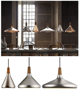 Brushed Steel & Walnut Wood Pendant - 3 Sizes