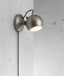 Ball Shaped Wall Light With Trailing Lead - Brushed Steel