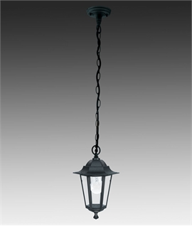 Black Exterior Lantern with Chain Link Suspension