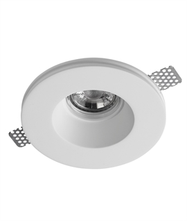 Low-Glare Trimless Plaster-In Recessed Downlight For GU10 Mains Lamps