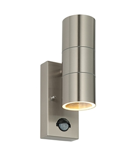 Budget Stainless Up-Down Wall Light With PIR