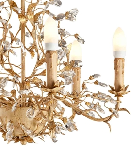 Gold Patina Chandelier - Crystal Droplets & Decorative Leaves