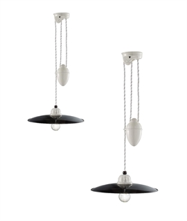 Ceramic Single Rise & Fall Pendant - Black Shade