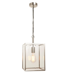 Clear Glass Box Pendant - Two Styles & Finishes