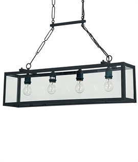 Black Box Pendant - 4 Lamps & Chain Suspension