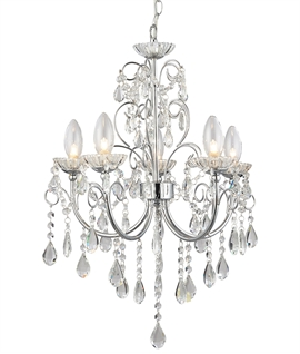 Crystal & Chrome Chandelier for Bathrooms