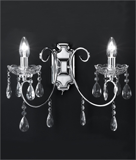 Chrome & Crystal Double Wall Light