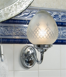 Curved Chrome Wall Light with Etched Glass