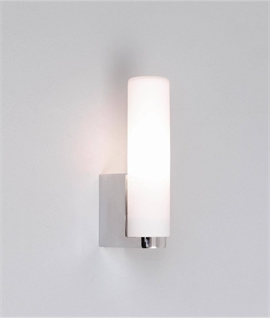 Splashproof Tubular Bathroom Wall Light with Opal Glass