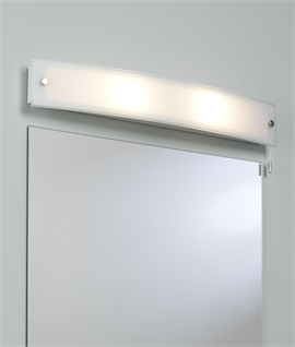 Curved Over Mirror Light With Opal Glass & Bathroom Safe