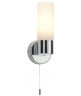 Simple Bathroom Opal Glass Wall Light With Pull Cord
