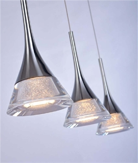 Chrome LED Bar Pendants 3 or 5 Lamp