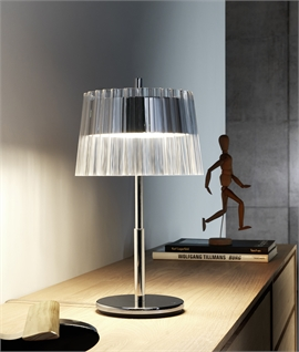 Rippled Glass & Chrome Designer Table Lamp