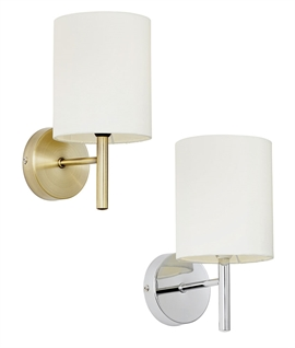 Modern Wall Light with Rounded Shade - Brass or Chrome