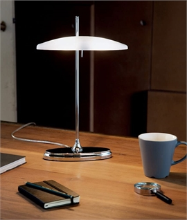 Modern Chrome & Opal Glass Bankers Lamp