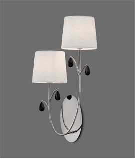 Double Arm Wall Light - Cream Shades & Crystal Droplets